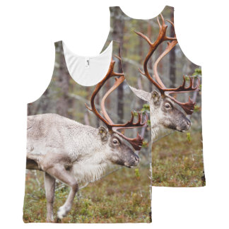 Reindeer walking in forest All-Over print singlet