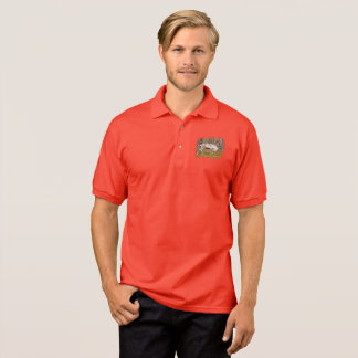 Reindeer walking in forest polo shirt