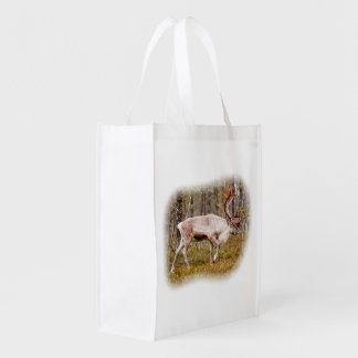 Reindeer walking in forest reusable grocery bag
