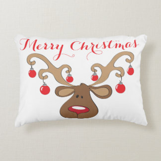 REINDEER WITH CHRISTMAS BALL ANTLERS PILLOW