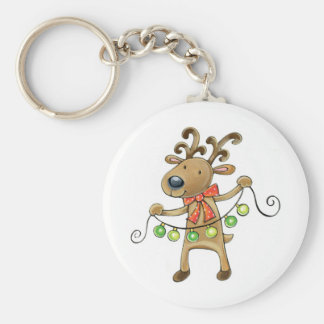 Reindeer with Christmas Lights Key Ring
