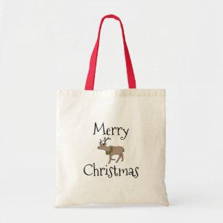 Reindeer with Christmas Wreath Christmas Tote Bag
