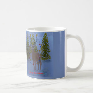 Reindeer with decorated antlers,  Merry Christmas Coffee Mug