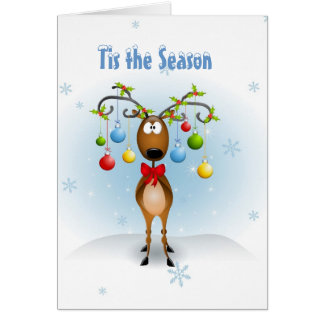 Reindeer with Ornaments Greeting Cards