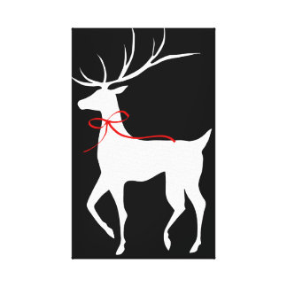 Reindeer with Red Bow Canvas Print