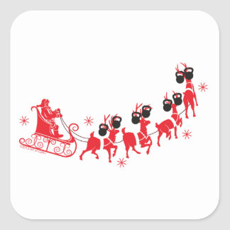 Reindeer Workout Square Sticker
