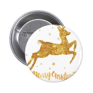 reindeere golden  stars 6 cm round badge