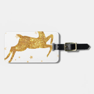 reindeere golden  stars luggage tag