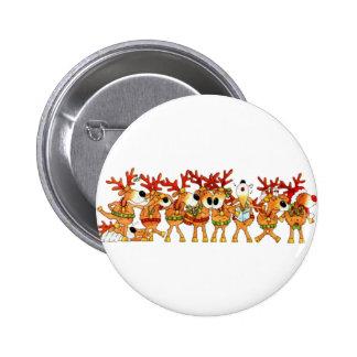 Reindeers Sing 6 Cm Round Badge