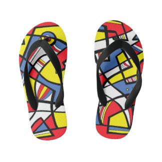 """Reis"" Adult Flip Flops Yellow Red Blue"