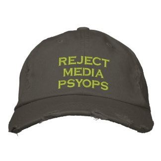 reject media psyops embroidered baseball cap