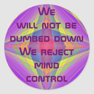 reject mind control stickers round sticker