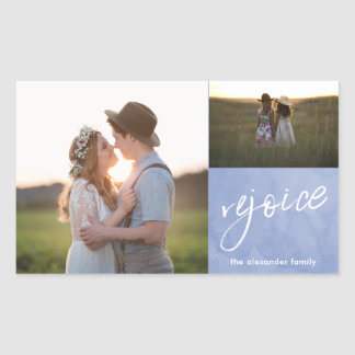 Rejoice and Be Glad Blue and White Photo Christmas Rectangular Sticker