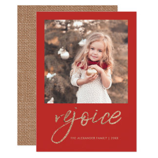 Rejoice and Be Glad Rustic Christmas Photo Card