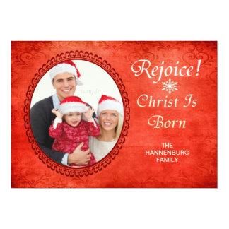 """Rejoice Christ Is Born Christian Custom Photo 5"""" X 7"""" Invitation Card"""