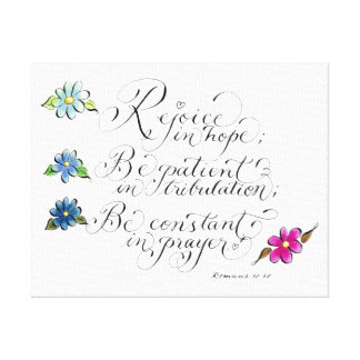 Rejoice in hope inspirational typography verse canvas print