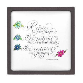 Rejoice in hope inspirational verse typography premium jewelry box