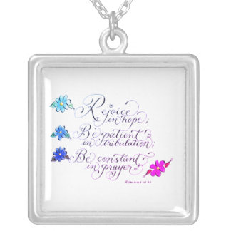 Rejoice in hope inspirational verse typography silver plated necklace