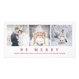Rejoice | Modern Red Christmas Three Photos Card