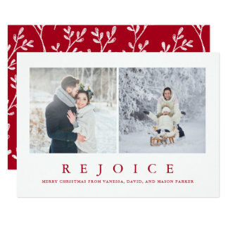 Rejoice | Modern Red Christmas Two Photo Card