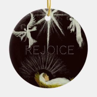 Rejoice! Round Ceramic Decoration