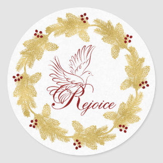 Rejoice with Dove Gold Holiday Wreath with Berries Classic Round Sticker