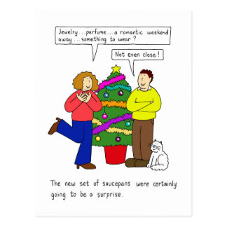 Relationship humour, the practical Christmas gift. Postcard