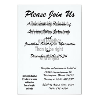 relationship rule 15.2 better to be wrong 13 cm x 18 cm invitation card