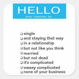 Relationship status name tag sticker
