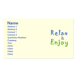 Relax and Enjoy Pack Of Standard Business Cards