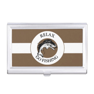 RELAX AND GO FISHING BUSINESS CARD HOLDER