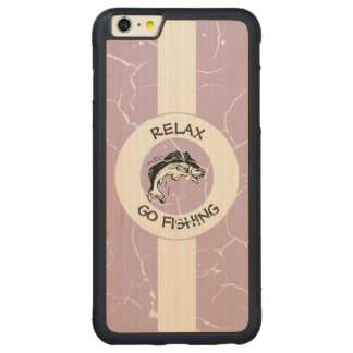 RELAX AND GO FISHING CARVED MAPLE iPhone 6 PLUS BUMPER CASE