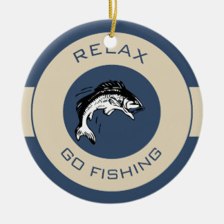 RELAX AND GO FISHING CERAMIC ORNAMENT