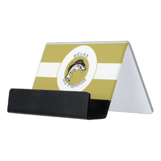 RELAX AND GO FISHING DESK BUSINESS CARD HOLDER
