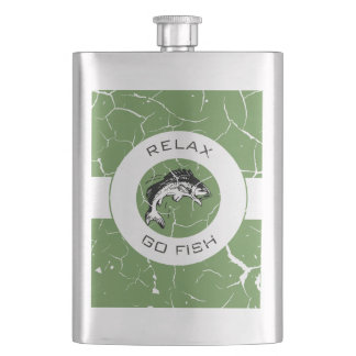 RELAX AND GO FISHING HIP FLASK