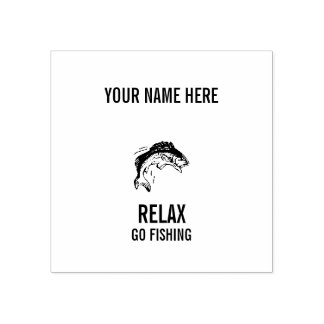 RELAX AND GO FISHING RUBBER STAMP