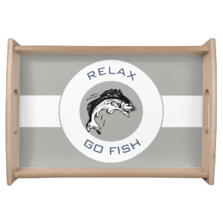 RELAX AND GO FISHING SERVING TRAY