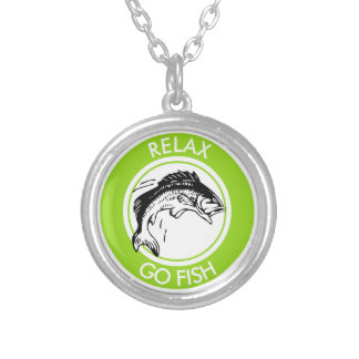 RELAX AND GO FISHING SILVER PLATED NECKLACE