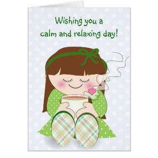 Relax! Cute Kawaii Girl Relaxing with Tea / Coffee Card