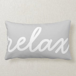 Relax Gray & White Script Lumbar Pillow