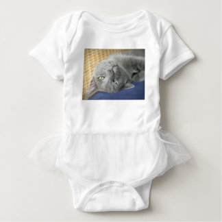 Relax! Grey Purring Cat Baby Bodysuit