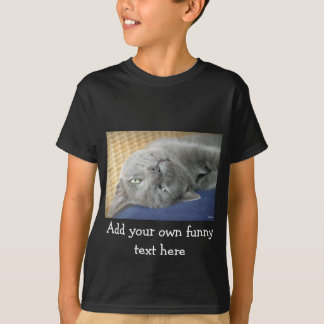Relax! Grey Purring Cat - black T-shirt for Kids