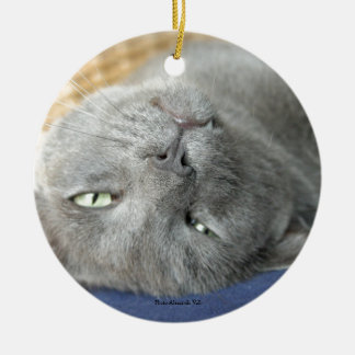 Relax! Grey Purring Cat Circle Ceramic Ornament