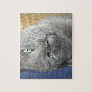 Relax! Grey Purring Cat Jigsaw Puzzle