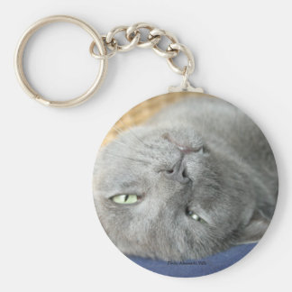 Relax! Grey Purring Cat Keychain