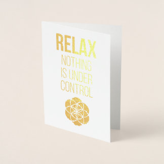 Relax Mindfulness Buddha Quote Gold Foil Card