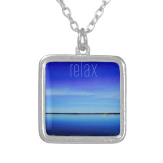 Relax Ocean Horizon Photo Silver Plated Necklace