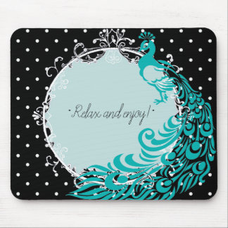 RELAX-PEACOCK-MIRROR-POLKA DOTS--TEMPLATE MOUSE PAD