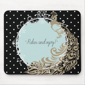 RELAX-PEACOCK-MIRROR-SELF-EXPRESSION-TEMPLATE MOUSE PAD
