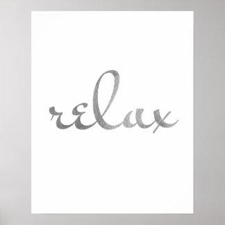 Relax print gray. Typography wall art minimalist